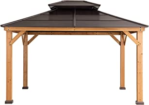 Sunjoy A102008600 Chapman 10x12 ft. Cedar Framed Gazebo with Steel 2-Tier Hip Roof Hardtop, Brown
