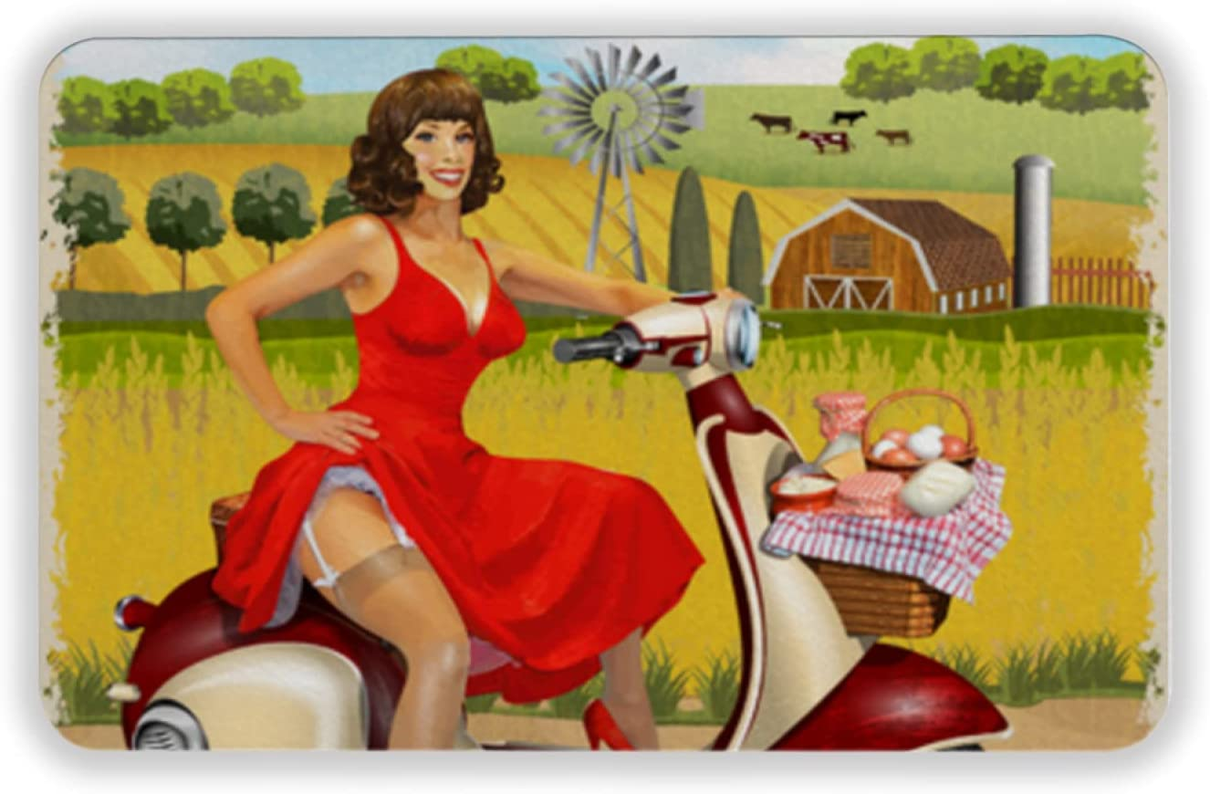 Tapete para Piso, tapetes de Bienvenida de Caucho Natural Duradero ,Old Scooter with Basket of Dairy and Pin up Girl Vintage Farm Fresh Poster,Alfombra para Interiores y Exteriores 15 by 24 Inches