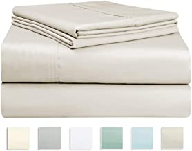 400 Thread Count Cotton Beige 4 Piece King Size Bed Sheets Set, 100% Long Staple Cotton Luxurious Soft Satin King Sheet Set - 1 Fitted Sheet, 1 Flat Sheet and 2 Pillow Cases (100% Cotton, King, Taupe)