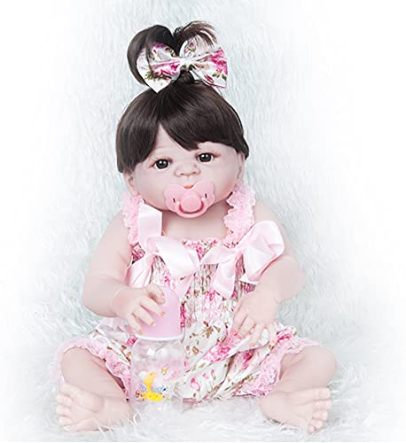 ERBEIOU Babypuppen Puppe Weiß Realistische Hübsche Weiß  22 Zoll mädchen Baby Spielzeug Geschenk Magnet Schnuller Wasserdicht Rosa Geeignet Für 3+