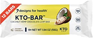 Designs for Health KTO-BAR Keto Protein Bars - 15g Fat, 2g Net Carbs, 10g Vegetarian Pumpkin Seed Protein - Non-GMO + Glut...