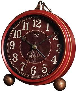 JUSTUP Bordsväckarklocka, 13 cm röd icke-tickande retro gammaldags stil skrivbord väckarklocka med kvartsrörelse batteridr...