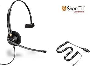 ShoreTel Compatible Plantronics HW510 EncorePro 510 Ultra Noise-Canceling VoIP Headset Bundle for ShoreTel IP Phones: IP 420, 480, 480G, 485
