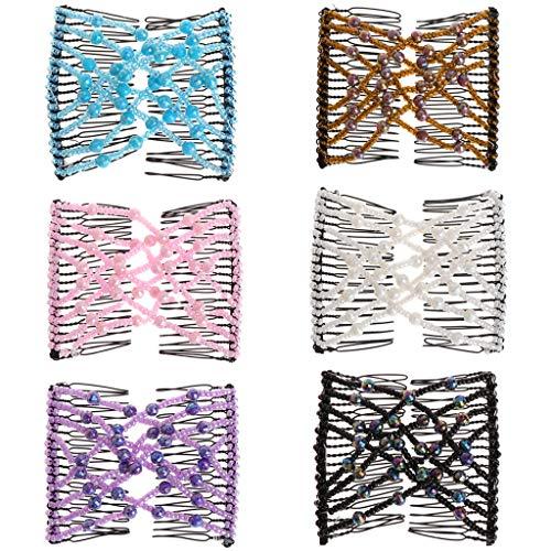 FXCO Haarkamm, modisch, magischer Kamm für Mädchen, Damen, elastisch, doppelt, Perlen, Haarkamm