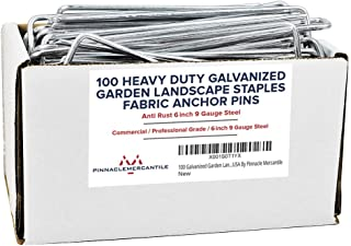 Pinnacle Mercantile 100 Pack Galvanized Garden Stakes Landscape Staples Extra Heavy Duty Sod Ground Anchors Anti Rust 6 in...