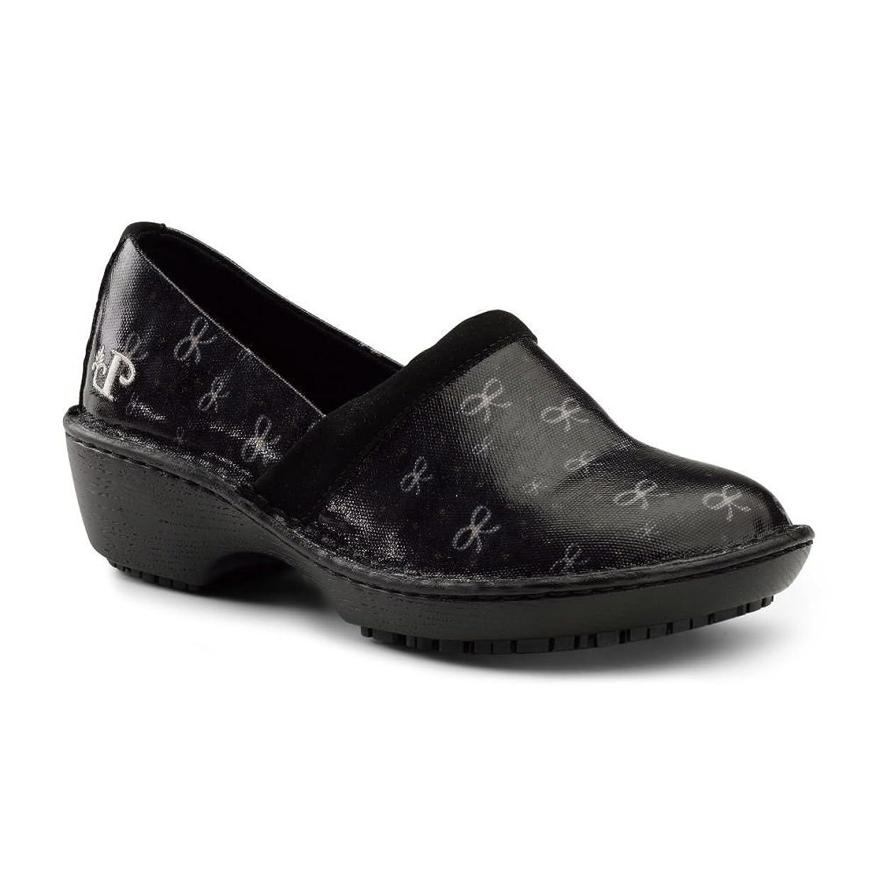 翻訳ほとんどの場合さびた[Lila SureGrip] Womens Bella Black Bows Clog Slip Resistant作業靴
