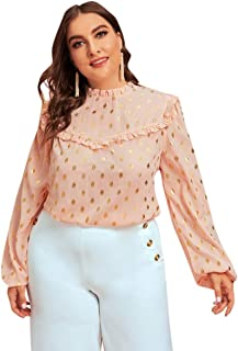 Milumia Women's Plus Size Gold Polka Dot Print Frill Trim Lantern Long Sleeve Work Blouses Top Shirt