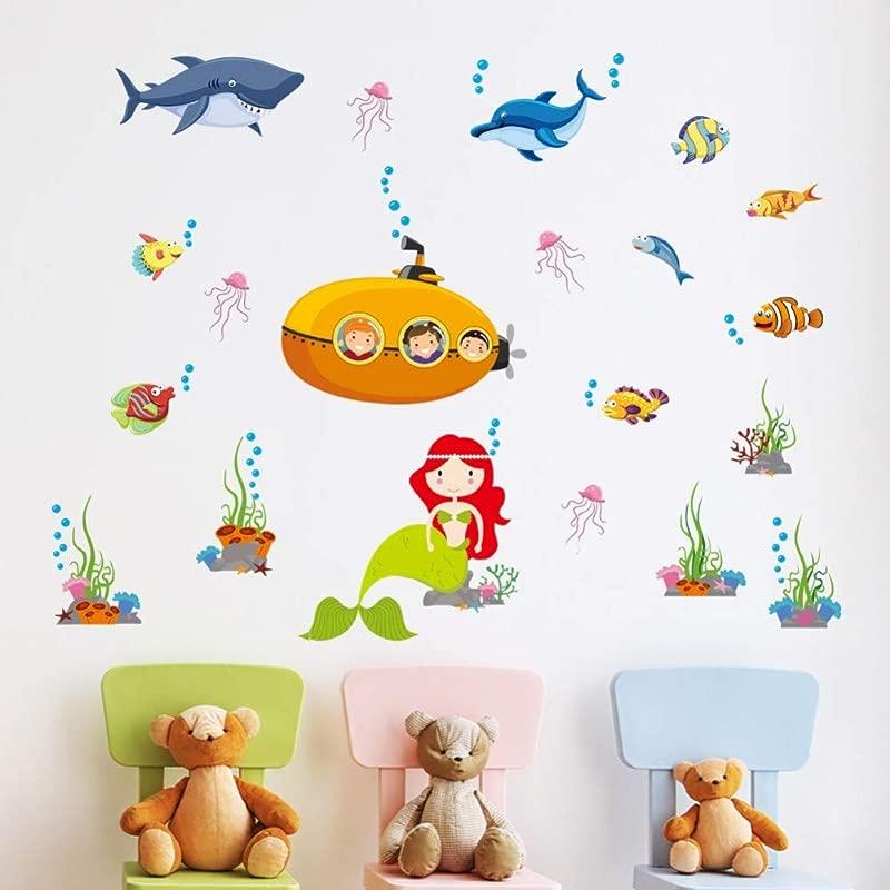 ZYBKOG Wall Sticker Submarine Underwater World Cartoon Wall Sticker Deep Sea Landscape Shark Cute Little Fish Kids Room Bathroom Decor Decal