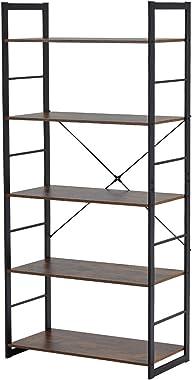 EROMMY Estantería de 5 niveles vintage industrial estantería de almacenamiento de madera rústica y estructura de metal, muebl