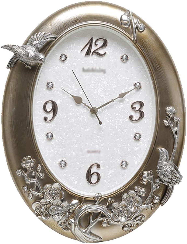 YONGMEI Wall Clock - Living Room Wall Clock European Mute Home Gift Simple Modern Creative Clock (color   Silver, Size   56  43cm)