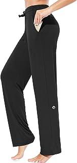 BALEAF Women's Jersey Pants Straight Sweatpants Wide Leg Comfy Yoga Knit Drawstring Loose Long Lounge Workout Pants
