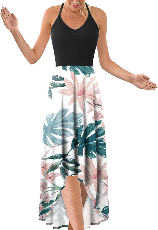 2021 Women's V Neck Slim Straps Dress Casual Summer Dress with Pockets, Floral Print Adjustable Straps Long Beach Dress