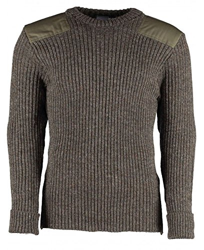 British Commando Sweater Woolly Pully Crew Neck with Epaulets (Large / 44-46 inch, Derby Tweed)