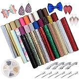 Kaari Hojas de cuero de imitación brillante de 30 colores, kit de artesanía de cuero para aretes, lazos, pinzas para el cabello y artesanía