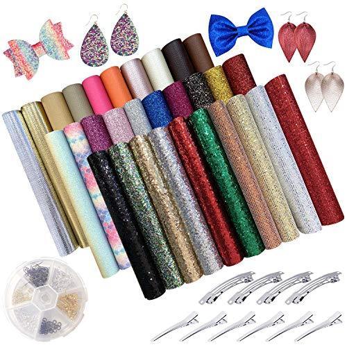 Kaari 30 Stück Kunstleder Stoff Blatt mit Ohrringzubehör Haarspangen für DIY Haarschleifen, Haarspangen, Handtaschen und Basteln