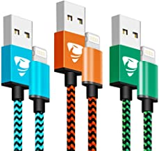 Aioneus Cargador iPhone 1M- 3 Pack Cable iPhone Trenzado de Nylon para XS MAX XR 8 7 6S 6 5S 5C SE - (Azul, Verde, Naranja)