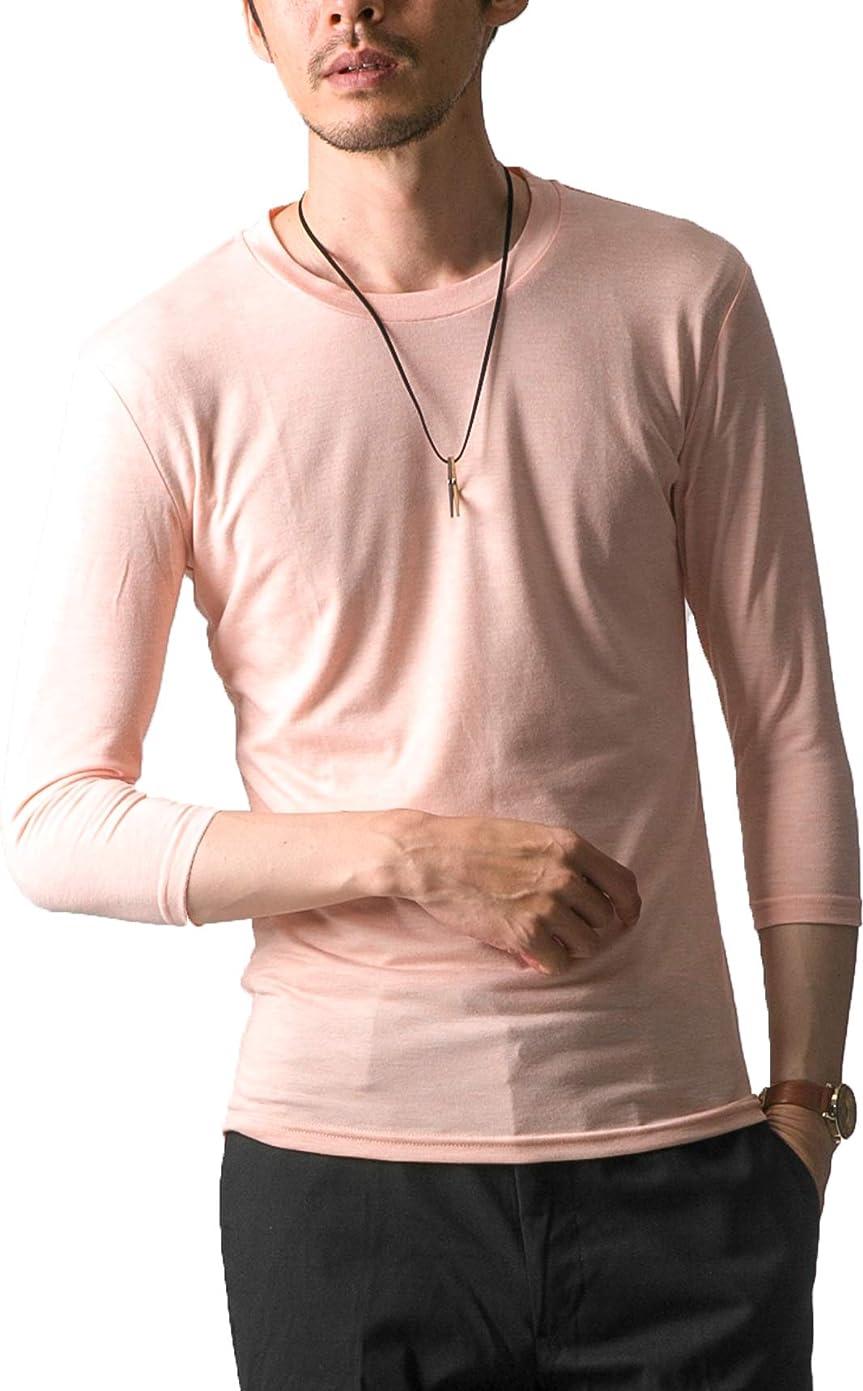 攻撃失う最大化するFTELA(フテラ) メンズ シャツ カットソー Tシャツ ロンTクルーネック 丸首 Vネック 長袖 7分袖 半袖 無地 シンプル スリム