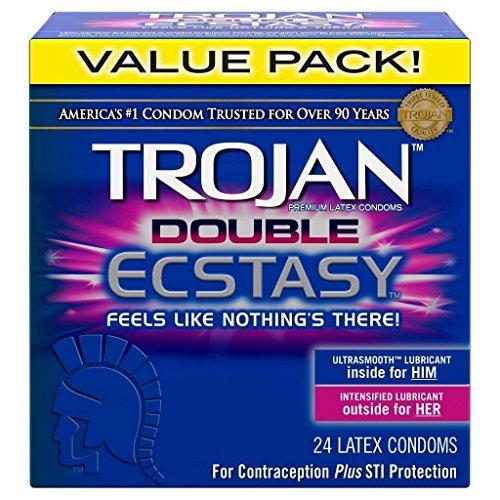 Trojan Double Ecstasy Premium Condoms Retail Box of 24 (( Pack of 2 ))