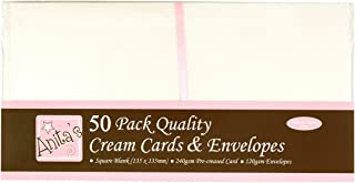 DOCrafts Anita's Square Cards/Envelopes, 5 by 5-Inch, Cream, 50-Pack