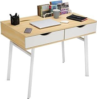 comprar comparacion LANGRIA Escritorio Grande Moderno con 2 Cajones y 2 Compartimentos Estructura Resistente con 4 Patas Metálicas Mesa de Ord...