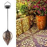 Solarlaterne für außen, Ulmisfee LED Solar Laterne Hängend, Deko Metall Solarlampe Garten Laterne für Aussen Garten Patio Balkon [Energieklasse A+]