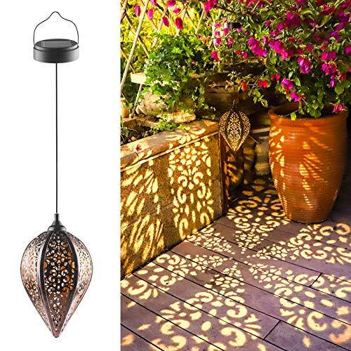 Solarlaterne für außen, IP44 Wasserdicht Garten Laterne, Dekorative Solarlampe Hängend, Metall LED Solar Laterne für Draussen Baum Patio (A)