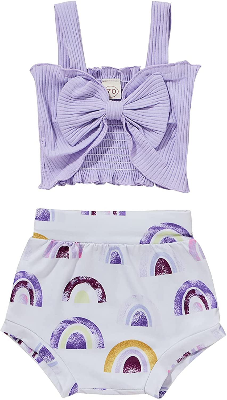 2Pcs Newborn Infant Baby Sleeveless Knit Bow Halter Vest Tank Crop Tops + Rainbow Shorts Pants Summer Outfit