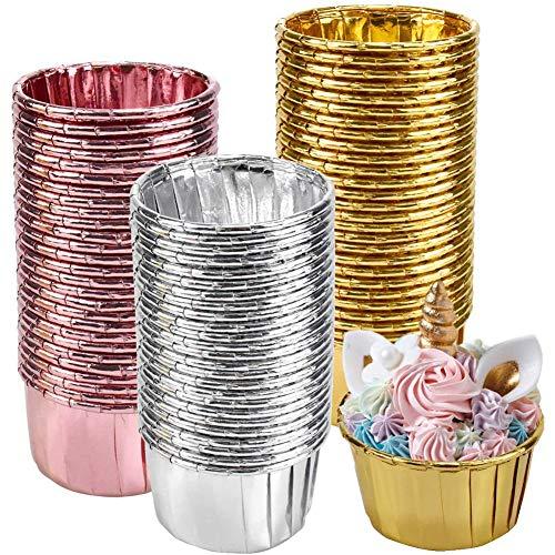 Papel de Aluminio para Cupcakes,150 Pack Moldes Mini Magdalenas, para Hornear Magdalenas, Fiesta de Bodas, Cumpleaños, Color Dorado, Plateado y Oro Rosa