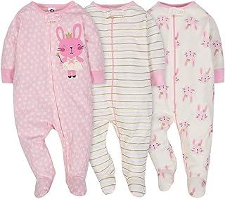 Gerber Onesies Baby Girl Sleep N` Play Sleepers 3 Pack