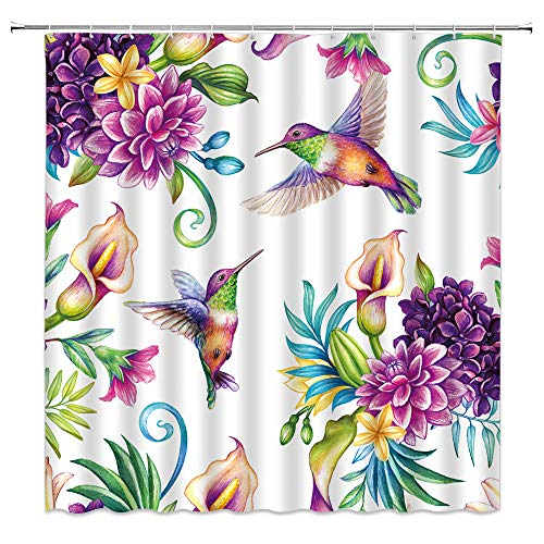 Bird Flower Shower Curtain Calla Lily Hummingbird Decor Vintage Garden Dynamic Nature,Fabric Bathroom Set Hooks Included,Purple