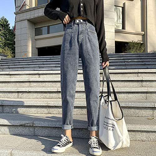 Jeans Pantalon Blau Grau Harem Damen Jeans Hose   Damen Highwaisted Jeans Loose Plus Size Jeanshose Casual Mom Jean 32 Bluegray
