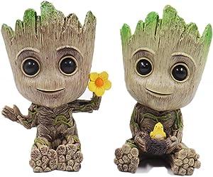 Groot Planter,Baby Groot Flower Pot,Garden Pots,Flowerpot Treeman Groot Succulent Planter Cute PVC Plants Flower Pot with Hole Pen Hold(2 Pack)