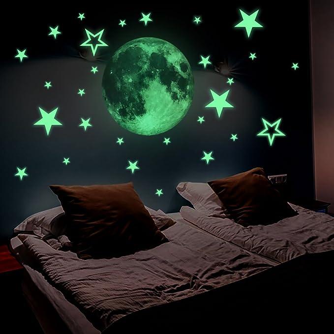 826 opinioni per Lamdgbway Luminoso 26pcs Stelle e 30cm Luna Adesivi Si illuminano al buio