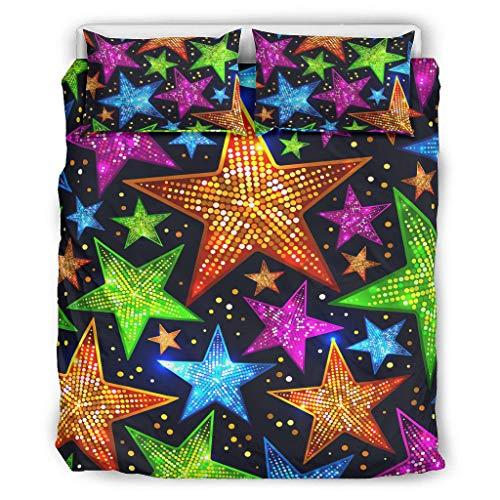 superyu Cubierta de la cama Star Sky colorido SoftCouple estilo ropa de cama para los amantes blanco 90x90 pulgadas
