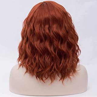 FHKGCD 16 Pouces Courte Perruque Ondulée Cheveux Synthétiques Halloween Costume Cosplay Perruques pour Les Femmes