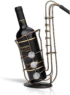 Tooarts Casier à Vin Saxophone en Métal Support de Fer Vin Casier à Bouteille Sculpture Décoration Artisanat de Décoration...