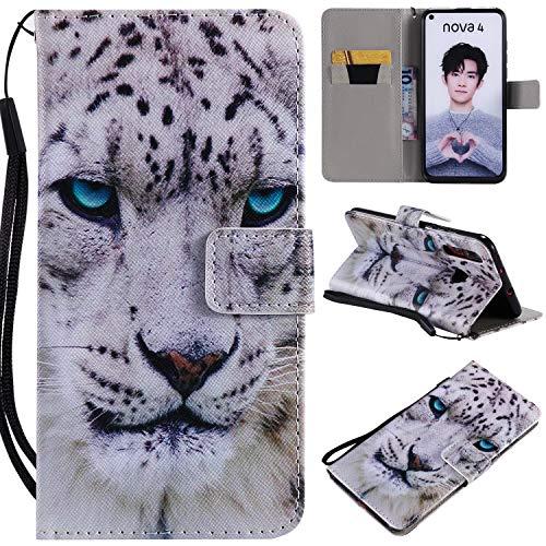 nancencen Kompatibel mit Handyhülle Huawei Nova 4 Hülle, Painted Tier PU Leder Tasche Schutzhülle Hülle [Weiß Leopard]
