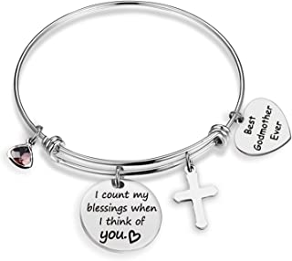 EIGSO Godmother Bracelet I Count My Blessing When I Think of You Godmother Gift First Communion Gift