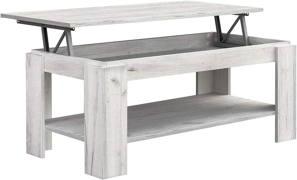 COMIFORT Ausziehbarer Höhenverstellbarer Couchtisch – Möbelstück mit Zeitschriftenfach, Hubtisch Moderner Stil, Viel Stauraum, Sehr Belastbar,…