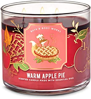 White Barn Candle Company Bath and Body Works 3-Wick Scented Candle w/Essential Oils - 14.5 oz - Warm Apple Pie (Baked Gra...