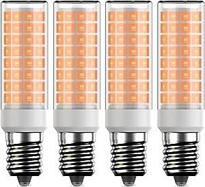 KLENTLY E14 LED Bulbs Warm White 3000K E14 European Base Bulbs C35 Chandelier Light Bulbs E14 Candle Lighting E14 Cooker Hood Bulbs 8W (Equivalent 80W Incandescent) AC120V for Home Lighting 4-Pack