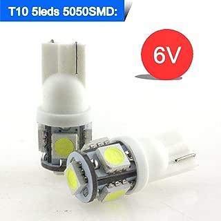 Runye Lighting 6V LED T10 194 W5W 152 158 159 161 168 Wedge 5 SMD 5050 White LED Car Lights bulb W5W 194 259 2521 2825 Car Interior Light (Pack of 10)