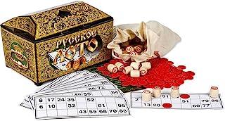 Wood Russian Lotto Game Bingo Cards Set in Casket with Folk Patterns - Bingo Board Game Set Loteria Cards Wood Barrel Lotto Bag