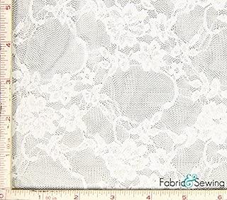 White Small Flower Stretch Lace Fabric 4 Way Stretch Nylon Spandex 4 Oz 57-58