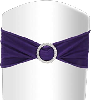 BEAMNOVA 100 Pcs Purple Chair Sashes for Wedding Party with Round Buckle Chair Covers Decorations Accessories