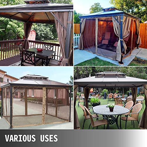 Happybuy Hardtop Gazebo with Netting – Metal Gazebo Aluminum Permanent Double Tier Roof