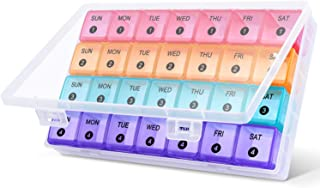 DANYING XL Monthly Pill Organizer, 4 Weeks Pill Box, Daily Medicine Organizer, 28 Days Pill Container, Weekly Vitamin Case
