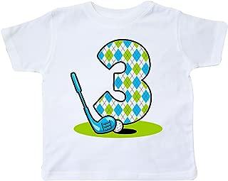inktastic Argyle Golf 3rd Birthday Toddler T-Shirt