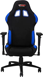GT Omega PRO Racing Fabric Gaming Chair with Lumbar Support - Breathable & Ergonomic Office Chair with 4D Adjustable Armrest & Recliner - Esport Seat for Ultimate Gaming Experience - Black Next Blue
