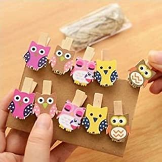 Nyrwana Cute Postcard Clothes Photo Paper Peg Pin Clothespin Wooden Clips 6 Pcs (Pink)
